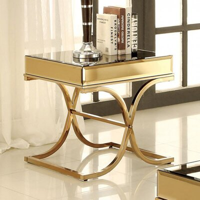 Fruge End Table Color: Gold
