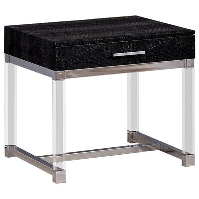 Fugate End Table with Storage Table Top Color: Black