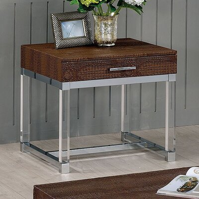 Fugate End Table with Storage Table Top Color: Brown