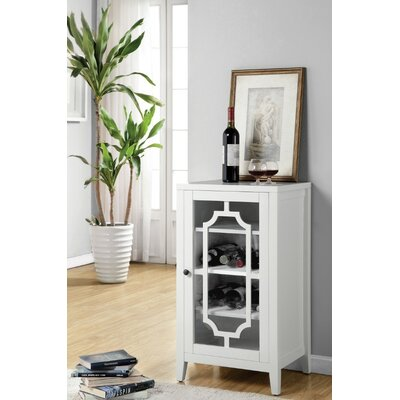 Rencher Glass & Wood Bar with Wine Storage Color: White