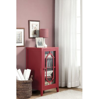 Rencher Glass & Wood Bar with Wine Storage Color: Red