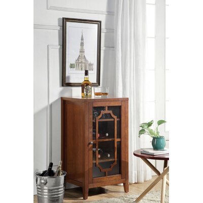 Rencher Glass & Wood Bar with Wine Storage Color: Walnut