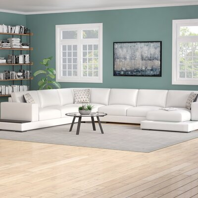 Epling Sectional Upholstery: White/Brown