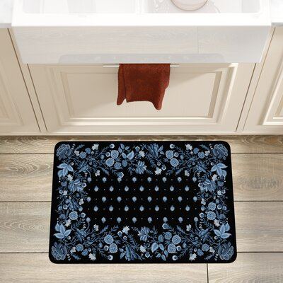 Swofford Floral Kitchen Mat Color: Black Chambray