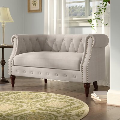 Edmeston Chesterfield Loveseat Upholstery: Beige