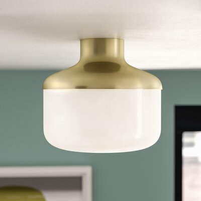 Aric 1-Light Flush Mount Fixture Finish: Aged Brass, Size: 8.25 H x 9 W x 9 D