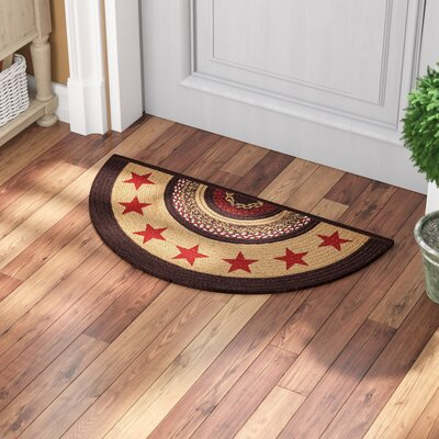 Juliana Brown/Red Area Rug Rug Size: Half Circle 14 x 29