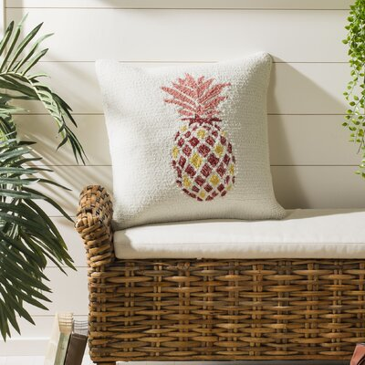 DeBary Pure Pineapple Outdoor Throw Pillow Color: Red/Yellow/White