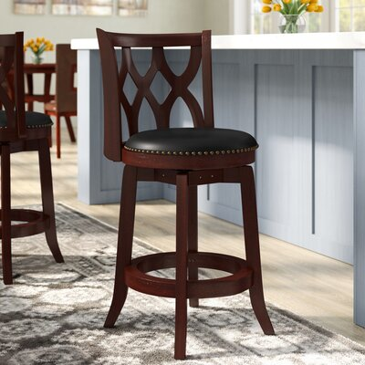 Marblehead  24 Swivel Bar Stool Finish: Dark Cherry