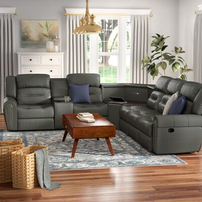 Scheele Reclining Sectional Upholstery: Gray