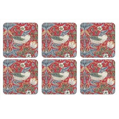 William Morris Strawberry Thief Coaster Color: Red 2010268718