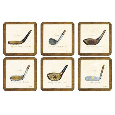 A History of Golf Square 6 Piece Coaster Set 2010268900