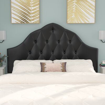 Joao Traditional Upholstered Panel Headboard Size: Queen, Upholstery: Black