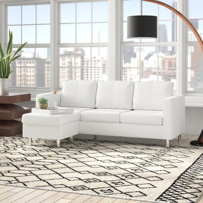 Emmaline Reversible Sectional Upholstery: White