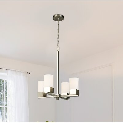 Lanclos 4-Light Candle-Style Chandelier Finish: Brushed Nickel