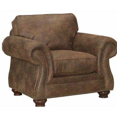 Laramie Armchair Nailhead Detail: Without Nailhead Trim, Finish: Oak Stain