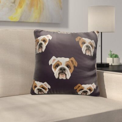 Bourbeau Bulldog Heads Throw Pillow