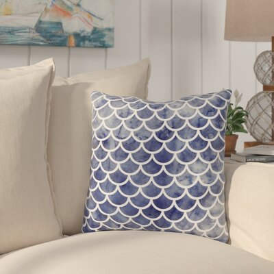 Nunberg Mermaid Scales Throw Pillow Size: 16 x 16, Color: Navy Blue