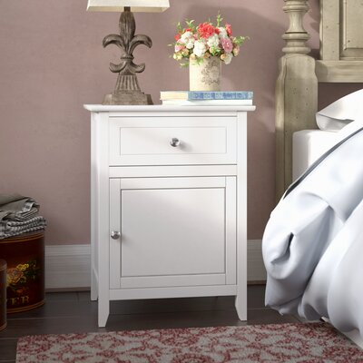 Hammond 1 Drawer Nightstand Color: White