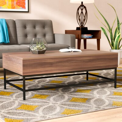 Reda Lift-Top Coffee Table with Storage Top Color: Dark Oak