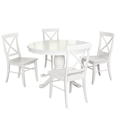 Stock Island 5 Piece Pedestal Dining Set Chair Color: Antique White, Table Color: Antique White