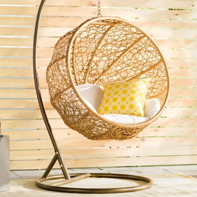 Eliott Swing Chair with Stand Cushion Color: White MTNA2141 40415620