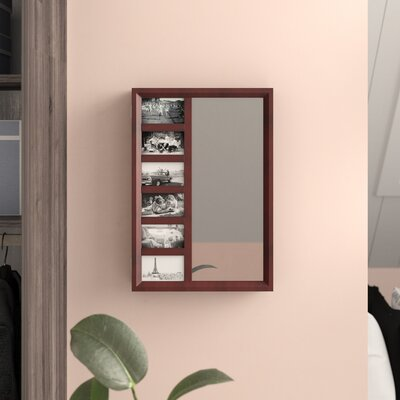 Tessa Wall Mounted Jewelry Armoire with Mirror Color: Mahogany