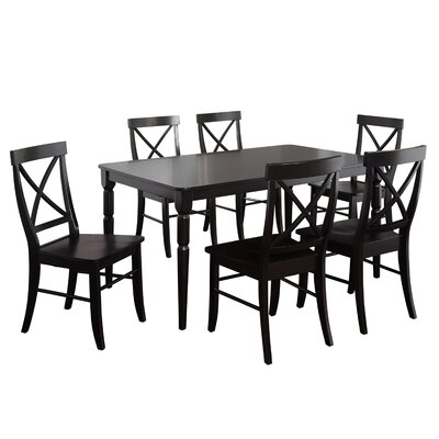 Brookwood 7 Piece Dining Set Table Color: Black