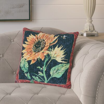 Melotti Sunflower and Bee Indoor/Outdoor Throw Pillow
