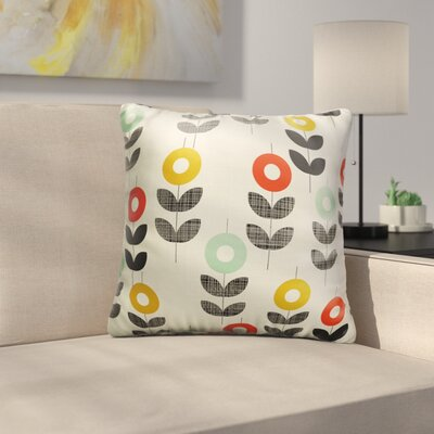 Daubert Flowers with Black Leaf Figures Throw Pillow