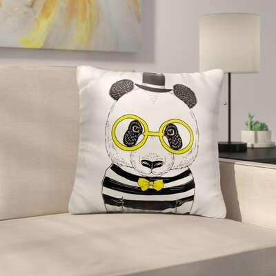 Bourget Panda with Yellow Glasses and Bow Tie Throw Pillow