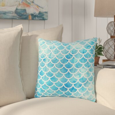Nunberg Mermaid Scales Throw Pillow Size: 16 x 16, Color: Blue