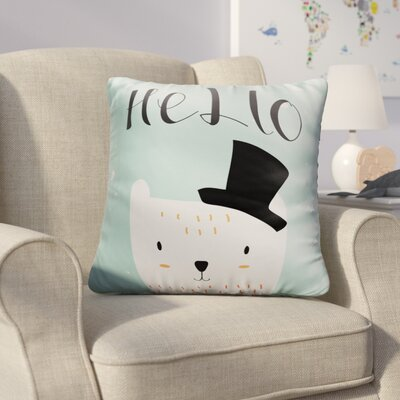 Farranshane Baby Polar Bear with Black Hat Throw Pillow