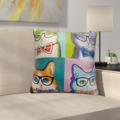 Boulton Cats with Glasses and Bow Ties Throw Pillow