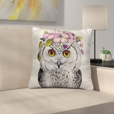 Boulware White Owl with Flowered Hair Band Throw Pillow