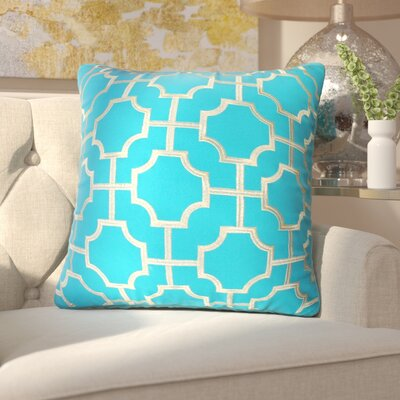 Fiorini Embroidered Geometric Throw Pillow Color: Caribbean Sea Gold