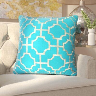 Fiorini Embroidered Geometric Throw Pillow Color: Caribbean Sea Gold