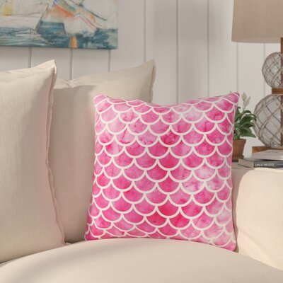 Nunberg Mermaid Scales Throw Pillow Size: 16 x 16, Color: Pink