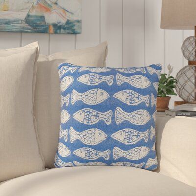 Benat Fish Tales Indoor/Outdoor Throw Pillow Size: 17 H x 17 W x 4 D, Color: Royal