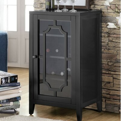 Rencher Glass & Wood Bar with Wine Storage Color: Black