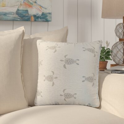 Sunbury Sea Turtle Throw Pillow Size: 18 x 18, Color: Cove / Shimmering Silver