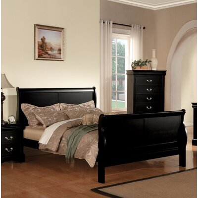 Alva III Queen Sleigh Bed Color: Black