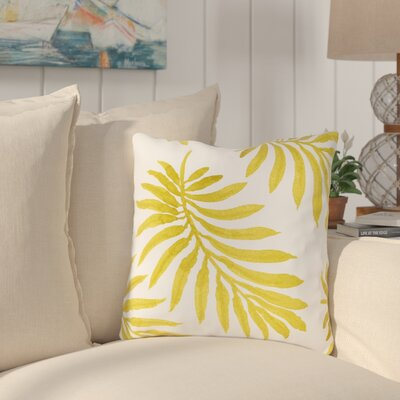 Morganton Palm Throw Pillow Size: 18 x 18, Color: Yellow