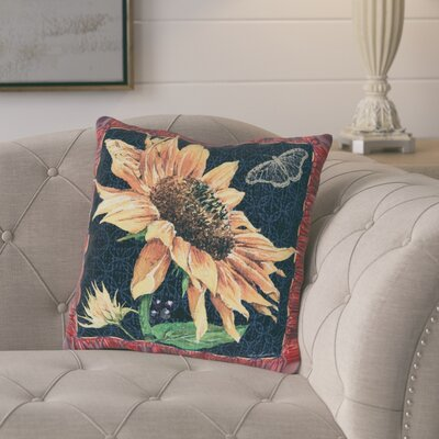 Melotti Sunflower and Butterfly Indoor/Outdoor Throw Pillow