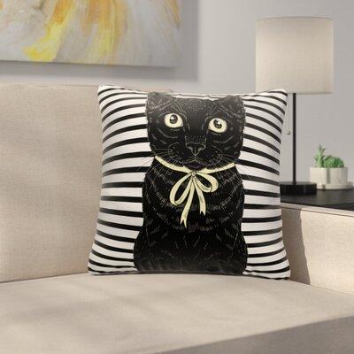 Bourland Black Cat Looking At You Throw Pillow
