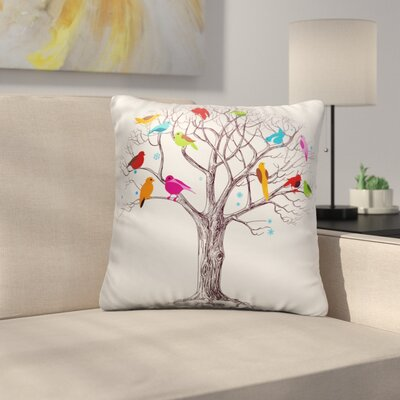 Bourquin Colorful Birds on the Tree Throw Pillow