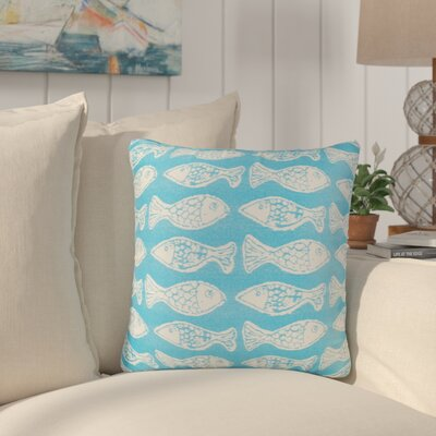 Benat Fish Tales Indoor/Outdoor Throw Pillow Size: 17 H x 17 W x 4 D, Color: Light Blue
