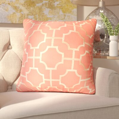 Fiorini Embroidered Geometric Throw Pillow Color: Coral Quartz Gold