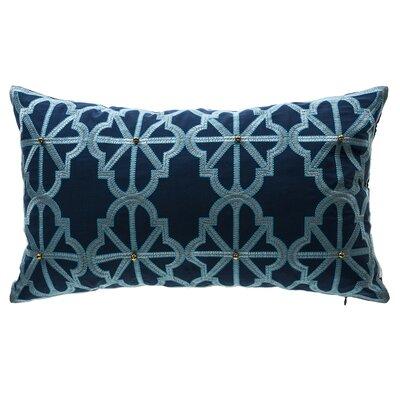 Arabesque Indigo Lattice Outdoor Lumbar Pillow