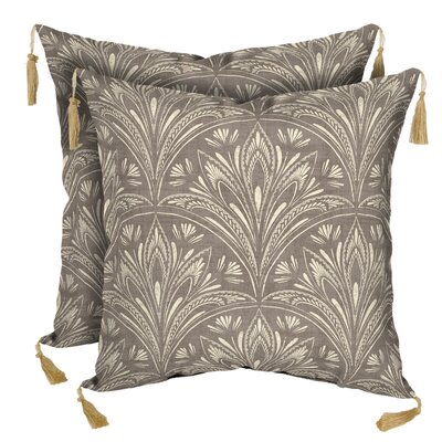New Zanzibar Neutral Outdoor Throw Pillow with Tassels